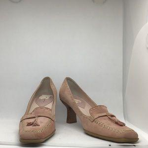 Linea Paolo Pink Suede wooden kitten heel